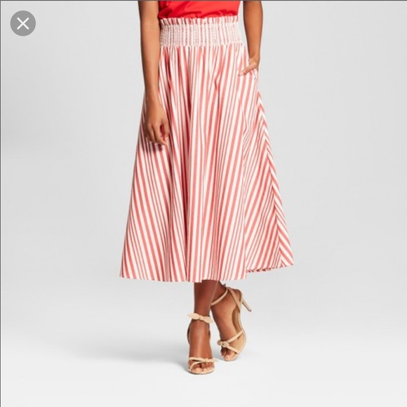 Who What Wear Dresses & Skirts - Who What Wear (Target) red stripe midi skirt NWT